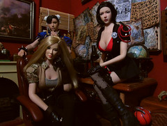 Trio of agents (Blondeactionman) Tags: bamhq playscale doll action figure phicen photography one six scale diorama agents of bam peta lucy chun li jakes study