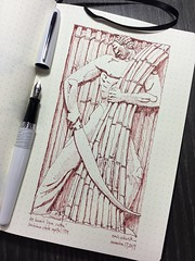 'Cane Cutter' by Lee Lawrie - Louisiana State Capitol - 1929 (schunky_monkey) Tags: architecture statecapitol louisiana artdeco deco penandink ink pen illustration journal drawing draw sketching sketch craftsman master art artist sculpture sculptor leelawrie