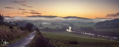 Misty Manor Sunset Pano (Scotty Rae) Tags: panorama mist manorbridge manor peebles peeblesshire tweeddale scotland scottishborders sunset autumn river rivertweed dusk road