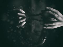 * (elisachris) Tags: schwarzweis blackandwhite dark spiegelung reflection mobilephone surrealism