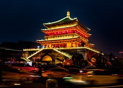 Xi'an Bell Tower. (ben.johnson56) Tags: china cars traffic roundabout tower bell xi'an