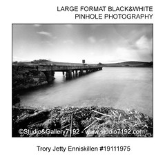 Trory Jetty and Lough Erne - This black and white camera obscura photo is NOT sharp due to camera characteristic. Taken with a professional pinhole camera (jbeugephoto) Tags: trory jetty lough erne ireland northernireland fermanagh enniskillen landmark famous water structure landscape attraction construction white photography pinhole photo black vintage retro photographic analog image nobody obscura oldfashioned pinholecamera foma fomapan developer rodinal fixer adofix lerouge45 lerouge54 large format
