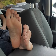 Bare in the car (stonesolid11) Tags: car fetish soles toes feet