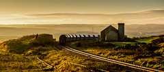Spinning round the Fan House (Peter Leigh50) Tags: 1z10 fan house hunt cliff landscape landschaft sunshine sky factory railway railroad rail rural train track fujifilm fuji freight freightliner shed class 66 xt10