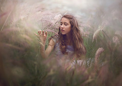 Softer ({jessica drossin}) Tags: woman jessicadrossin portrait green girl face grass lost spring blurry weeds dream dreamy wwwjessicadrossincom