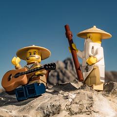 play me a song (genelabo) Tags: lego minifigure rontal karwendel bayern bavaria hiking wandern wanderung square quadrat alpenpark torscharte rohntalalm hinterris alpen berge mountains alps view blick wu sensei meister guitar gitarre ninjago