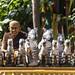 Zebra figurines and other votive offerings at Wat Poramai Yikawat in Ko Kret, Nonthaburi near Bangkok