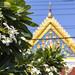 Fine eaves and flowers at Wat Poramai Yikawat in Ko Kret, Nonthaburi near Bangkok