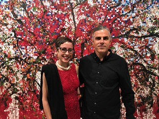 Dr. Jill Deupi, chief curator at the Lowe Art Museum with artist John  William Bailly at his recent opening at LnS Gallery