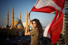 Recreating a nation~ Lebanon (~mimo~) Tags: portrait candid photography beauty nation future freedom mediterranean middleeast antigovernment people anticorruption woman mosque flag revolution lebanon beirut