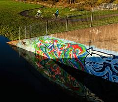 Sluice gate graffiti (Allan Rostron) Tags: york rivers riverouse sluicegates graffiti wallart reflections