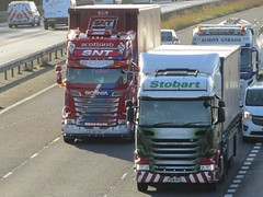 Stuart Nicol Transport Scania (S80SNT) & Eddie Stobart Scania R450 (Andrena Dawn) PO18NYX On The M62 Eastbound (Gary Chatterton 7 million Views) Tags: stuartnicoltransport scaniatrucks eddiestobart scaniar450 s80snt andrenadawn po18nyx motorway trucking wagon lorry haulage distribution logistics m62eastbound flickr canonpowershotsx430 photography