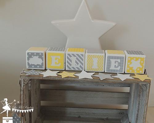 Cube prénom baptême décoration chambre enfant thème étoile ...