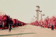 Purple Olympics (gooey_lewy) Tags: film analogue olympus om1 35mm full frame shanghai china street view colour 400 speed lomo lomography lens om 1 zuiko purple beijng avenue boulevard olympic tower stadium wacky