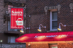 Sam's Market (Sam Wagner Photography) Tags: sams market south minneapolis light illuminated sign corner store minnesota city urban lights buildings compression close up detail midwest america usa red