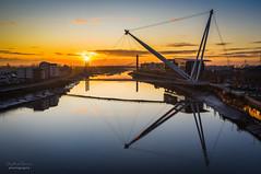 Sunrise at Newport (steved_np3) Tags: newport wales uk sunrise bridge riverfront 2019 autumn reflection river usk clouds water morning city cityscape