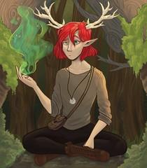 Wood Elf (denisa.divisovaa) Tags: elf wood fantasy horns demon readhead trees tree sitting magic ilustration art