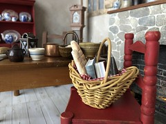 Back from town (Foxy Belle) Tags: diorama doll 16 scale playscale cottage kitchen primitive french red blue cream belle beauty beast home furniture rustic aged bread bagette willow