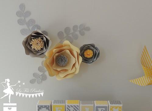 Décoration chambre fille jaune gris blanc cube prénom fleurs ...