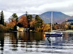 Derwent in Keswick (lesleydugmore) Tags: water boat derwent lakedistrict england britain europe uk mountains reflections boathouse trees outside outdoors
