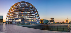 The Reichstag dome during Golden Hour (patuffel) Tags: reichstag dome cupola kuppel berlin terrace golden hour blue pano panorama norman foster architecture germany leica m10 28mm summicron landmark reichstagkuppel bundestag terrasse terasse