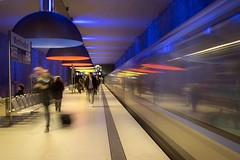 Movement at Westfriedhof (joseph_donnelly) Tags: reflection reflecting westfriedhof lights people movement germany münchen munich ubahn underground station train