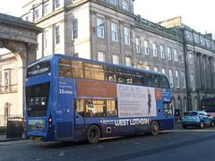 First Scotland East 33438 westbound on Waterloo Place, Edinburgh. (calderwoodroy) Tags: enviro400mmc alexanderdennis adl sn66wgk 33438 service24 firstwestlothian firstscotlandeast firstbus first doubledecker bus waterlooplace edinburgh scotland