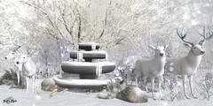 #144 - Fantastic White Deers (Yvain Vayandar) Tags: enchantment event secondlife sl magic magical fantasy medieval fairy forest deer winter fountain snow decoration dd love moonsha happymood