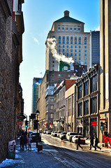 Busy Frigid Street (evanlochem) Tags: historic architecture montreal quebec canada november autumn fall city buildings street