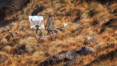 One Man And His Brush... (L.H.IMAGES) Tags: artist painter rugged landscape outdoor person rocks grass light contrast painting skye loch coruisk tranquil scotland scottishhighlands scenics