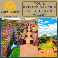 TOUR PRIVATE DAY TRIP TO SOUTHERN VALLEY!!  Journey to the Southern Valley surrounded by the Andes Mountains. Explore the Inca ruins of Tipon with many water channels and amazing views. Visit Pikillaqta pre-Inca ruins belonging to the Wari Civilization an (cuscotransportweb) Tags: andahuaylillas citytourcusco privatetours tourcusco cuscotransport cuscoperú tipon pikillacta