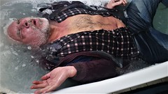 in the tub II (marcostetter) Tags: wetlook wet wetclothes wetclothing fullyclothed bathtub hunk stud hairy chest soapy bath wetpants jeans beard male masculine manly fashion vogue