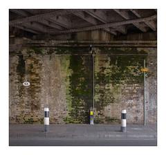 The Built Environment, South West London, England. (Joseph O'Malley64) Tags: thebuiltenvironment newtopography newtopographics manmadeenvironment manmadestructures bridgestructure railwayoverbridge railwayproperty overbridge bridge railwayviaduct viaduct railwayarches road roadway southwestlondon london england uk britain british greatbritain brickwork bricksmortar cement pointing victorian victorianstructure steelgirders span bridgespan concretesupports steelreinforcedconcretesupports reinforcedsteelgirders rivets steelrivets pigeonnetting antipigeonnetting guano waterleaks waterdamage frostdamage coalsootdamage acidraindamage damp hygroscopicsaltsinbrickwork lamp lighting wiring electricalwiring electricalconduit algae moss locationidsign signpost powersupplybox bollards pavement granitekerbing compositekerbing tarmac singleyelowline architecture architecturalphotography documentaryphotography britishdocumentaryphotography parkingrestrictions fujix fujix100t accuracyprecision