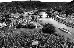 Moselle Valley (kiwi photo lover) Tags: germany rhinelandpalatinatestate moselleriver cochem town skagerrakbrücke bridge wappenvoncochem cruising boat vessel winery grapes bw schlossbergkellerwinery