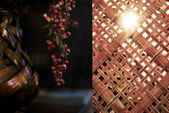 MMM Woven (Carrie McGann) Tags: hmmm mosaicmontagemonday mosaic montage woven bokeh sunburst basket pepperberries nikon nikond850 interesting