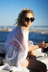 Boaty Ms. Boatface (Foodo Dood) Tags: sony a7ii 85mm zeiss batis portrait boating coronadobridge water whiteclaw smile