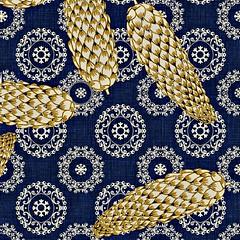 IMG_20190917_102008_951 (@catlinglinda) Tags: silver snowflakes golden pinecones spoonflower