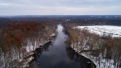 The Kalamazoo River near Parchment, looking north (bill.d) Tags: dji djiphantom4advanced kalamazoo kalamazoocounty michigan parchment unitedstates aerialphotography drone fall flying outdoor overcast snow winter