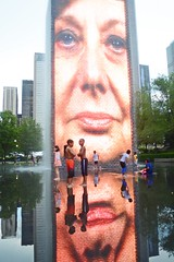 Crown Fountain--the world's most interesting waterfalls (Treasure from a Traveller) Tags: millennium park downtown chicago illinois lake michigan waterfalls water tower screen giant
