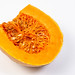 Sliced Yellow Pumpkin on the white background