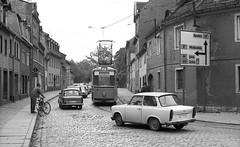 Wendezeit (2) (Maurits van den Toorn) Tags: tram strassenbahn tramway villamos eléctrico naumburg gdr ddr trabant classiccar oldtimergothablack white