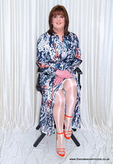 Peeky blinders (janegeetgirl2) Tags: transvestite crossdresser crossdressing tgirl tv trans jane gee gordon fawcett makeover monsoon silk dress orange high heels peeking slip ts