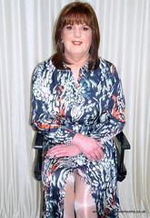 No better feeling (janegeetgirl2) Tags: transvestite crossdresser crossdressing tgirl tv trans jane gee gordon fawcett makeover monsoon silk dress orange high heels glossy stockings shiny ts