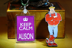 Crazy Tuesday - Keyring.    Desperate Dan trying to keep me calm.  IMG_0659 (alisonhalliday) Tags: canonef100mmf28lmacroisusm canoneosrp keyring crazytuesday macro closeup cartooncharacter red purple book comic character cmwdpurple cmwd colorfulworld