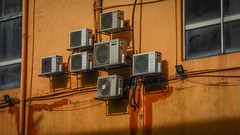 AC Units (Theen ...) Tags: 2018 shadow cables building external compressors tamandesa kualalumpur windows orange malaysia paint daikin units acron floodlight sunlight downpipe theen york pipes
