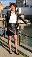 (valkex1) Tags: blouse satin lady mature wrinkles stockings skirt leather