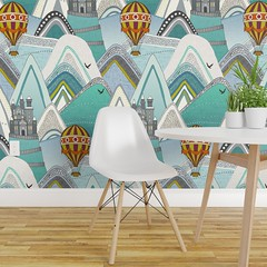 castleland wallpaper (tradtional) (Scrummy Things) Tags: castleland sharonturner scrummy mountains hotairballoon castle illustration kids nursery homedecor whimsical wallpaper spoonflower roostery