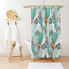 castleland redbubble shower curtain (Scrummy Things) Tags: castleland sharonturner scrummy mountains hotairballoon castle illustration kids nursery homedecor whimsical redbubble showercurtain shower bathroom