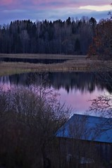 October evening (Stefano Rugolo) Tags: stefanorugolo pentax k5 pentaxk5 smcpentaxm100mmf28 kmount vertcalformat landscape evening sunset lake tree water purple vintagelens manualfocuslens manualfocus manual barn