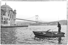 "fisherman in front of Ortakoy mosque (alamond) Tags: sea bosphorus water istanbul turkey ortakoy mosque boat fishing bridge canon 7d markii mkii ""l lens"" ef 1740 f4 l usm alamond brane zalar fisherman"
